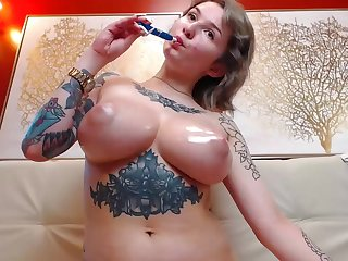 Amateur chubby tits MILF tattoed oiled boons upstairs webcam