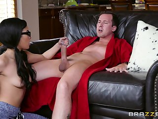 Nerdy swart doll plays naughty relative to the man's hard sallow cock