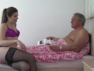 Old man pumps skinny young niece with an increment of cums inside her