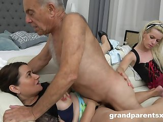 A Warm up excite Kinky Young Housemaid Fucks Old  - Old and Young
