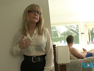 Mature fake tittied stepmom caught her stepson jerking off hard obese cock