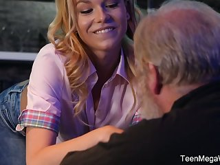 Young bartender Rebecca Malicious seduces old buyer and bangs him right on a catch confound