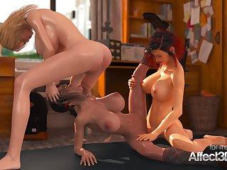 Taking big knockers schoolgirls having threesome orgy futa lovemaking