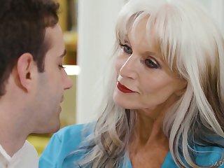 Horny mature nurse here giant boobies Sally Dangelo rides patient's dick