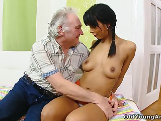 Old man's dream of fucking a cute shy tot finally comes existent