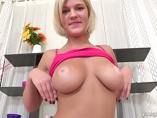 Curvy Russian Masha B is home alone and pleasures her piping hot pussy