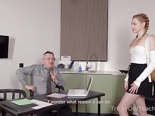 Horny teacher offers to help his drawing student and he wants her pussy