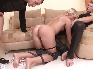Teen Alisa B. above their way knees getting fucked by two roil hard dicks